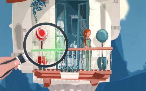Animation balcon fragile avec une loupe et une femme