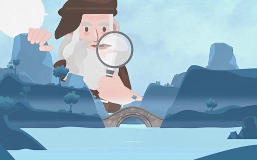 Dessin d'un vieil homme tenant une loupe pour inspecter un pont au dessus d'un lac