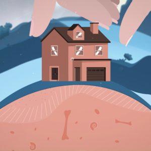 dessin d'une maison sur une butte avec une main au dessus